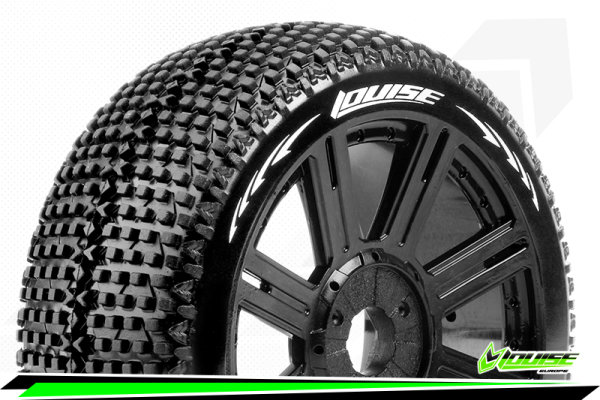 Louise RC - B-TURBO - 1-8 Buggy Tire Set - Mounted - Super Soft - Black Spoke Wheels - Hex 17mm - LR-T3104VB
