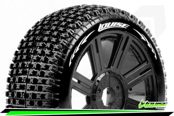 Louise RC - B-PIRATE - 1-8 Buggy Tire Set - Mounted - Soft - Black Spoke Wheels - Hex 17mm - LR-T3126SB