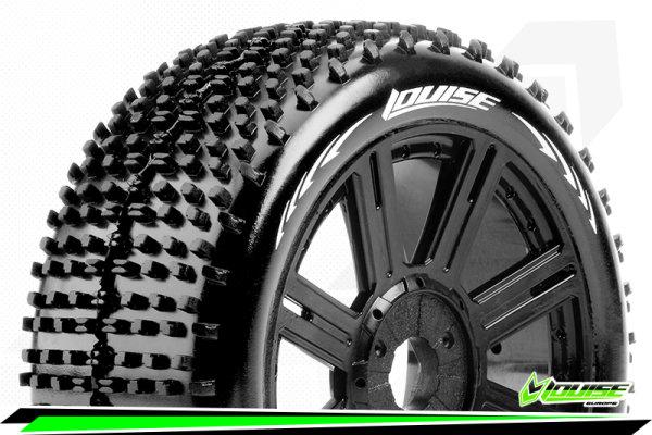Louise RC - B-HORNET - 1-8 Buggy Tire Set - Mounted - Soft - Black Spoke Wheels - Hex 17mm - LR-T3150SB