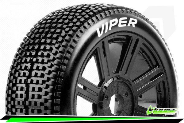 Louise RC - B-VIPER-JA - 1-8 Buggy Tire Set - Mounted - Soft - Black Spoke Wheels - Hex 17mm - LR-T3194SB
