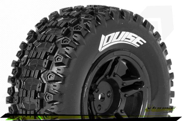 Louise RC - SC-UPHILL - 1-10 Short Course Tire Set - Mounted - Soft - Black Wheels - Hex 12mm - SLASH 2WD - Front - L... - LR-T3223SBTF