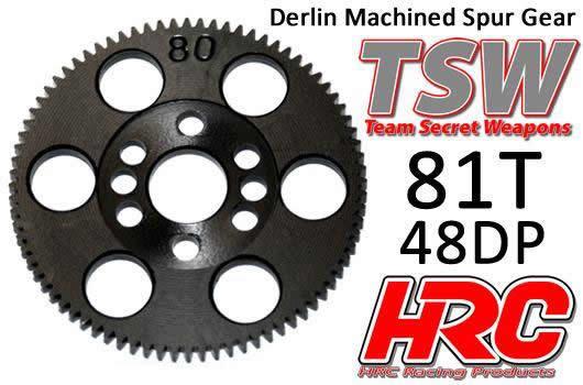 Hauptzahnrad - 48DP - Low Friction Gefräst Delrin - TSW Pro Racing -  81Z / HRC74881T
